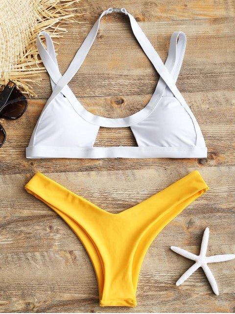Ausgeschnittener Bikini mit hohem Bein und Zweifarbe - Gelb L Mobile