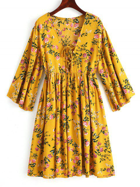 shop Lace Up Floral Mini Tunic Dress - MUSTARD L Mobile