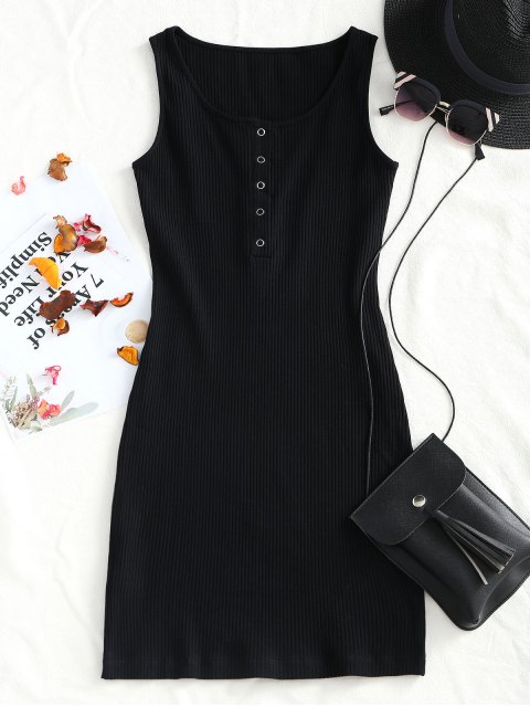 new Knitted Snap Button Ribbed Bodycon Dress - BLACK M Mobile