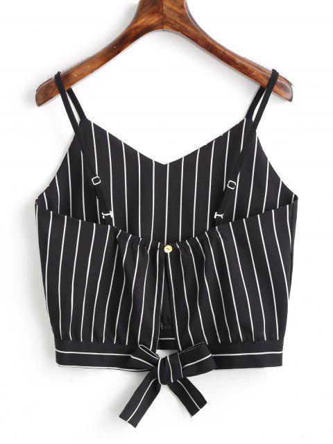Camiseta sin mangas cortadas con rayas Bowknot - Negro M Mobile