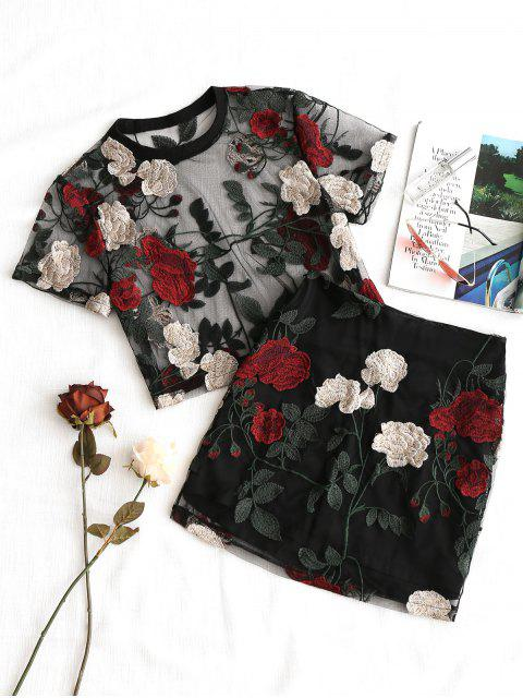 chic Floral Embroidered Mesh Blouse and Skirt Set - BLACK S Mobile