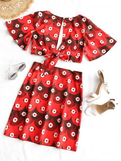 shop Plunge Floral Crop Top and Skirt Set - FLORAL L Mobile