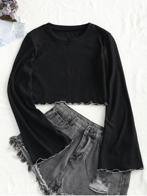 unique Knitted Flared Sleeve Lettuce Trim Top - BLACK S Mobile