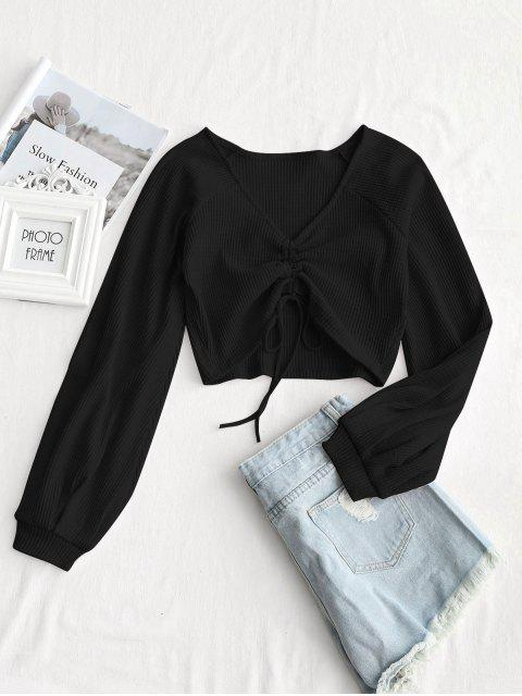 best Textured Knitted Gathered Top - BLACK S Mobile