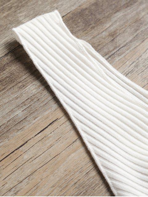 Cuello abombado acanalado sin mangas - Blanco XL Mobile