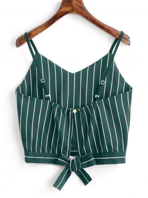 Camiseta Regata Barriga-de-Fora com Recorte e Nó em Laço - Verde profundo L Mobile