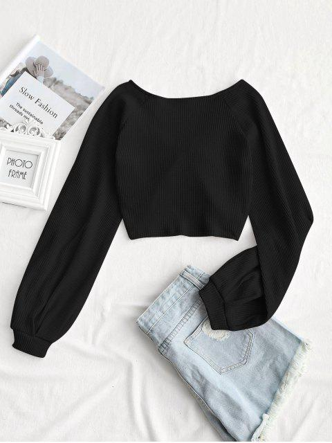 outfit Textured Knitted Gathered Top - BLACK L Mobile