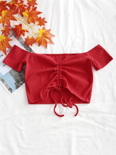 Knitted Gathered Off Shoulder Top - Red S