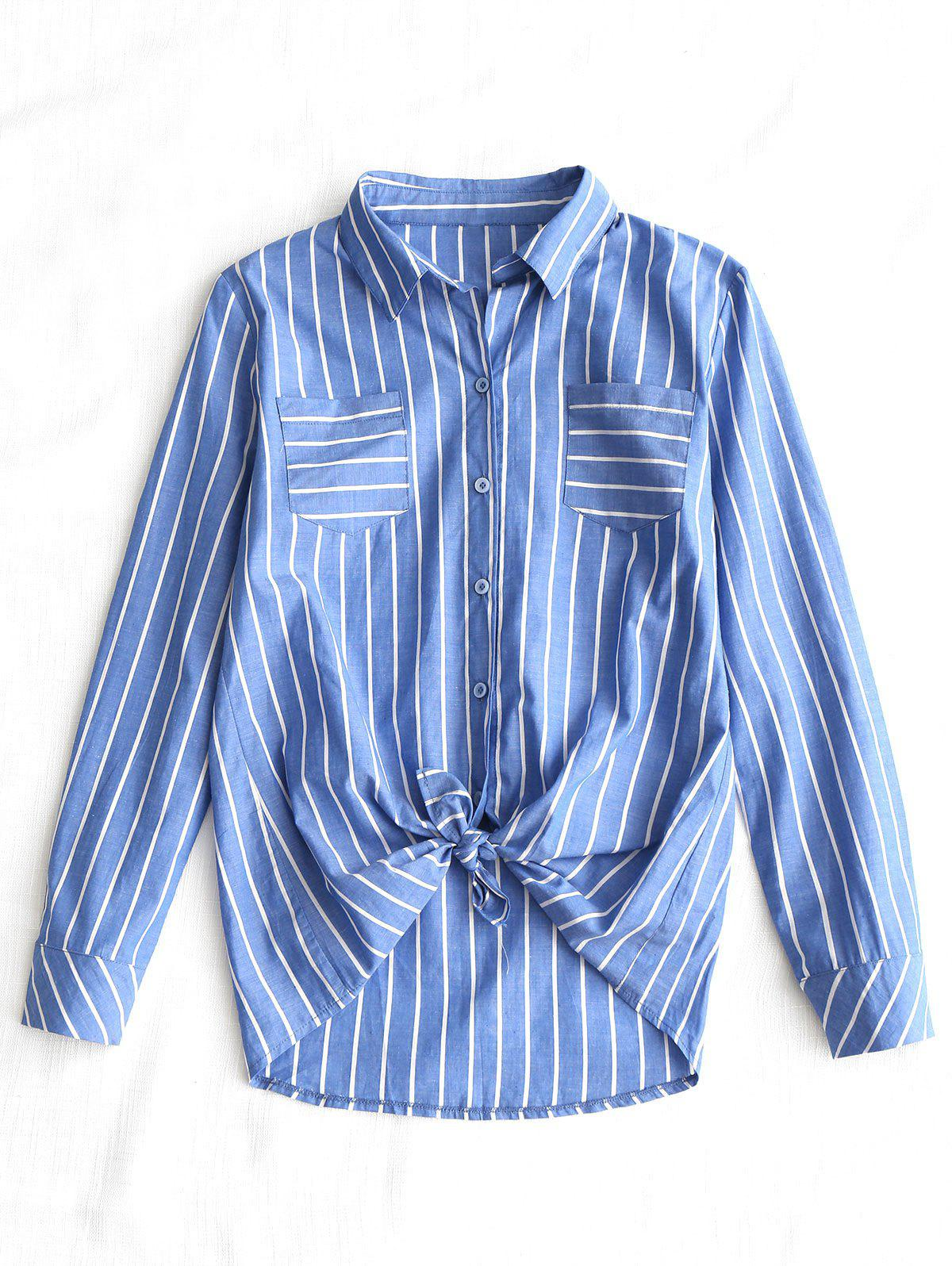 self tie hem striped shirt