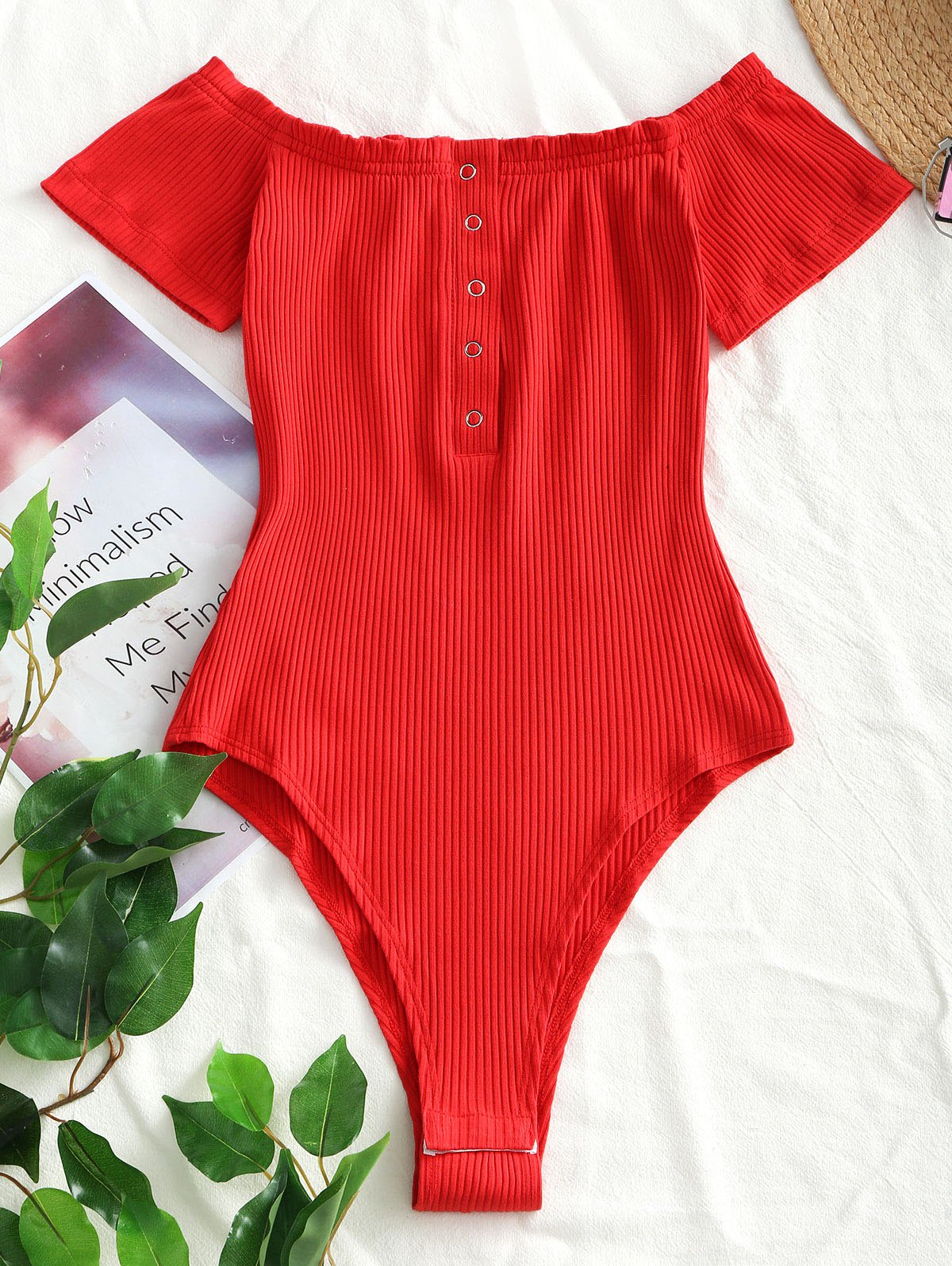 Knitted Snap Button Off Shoulder Bodysuit 254285202