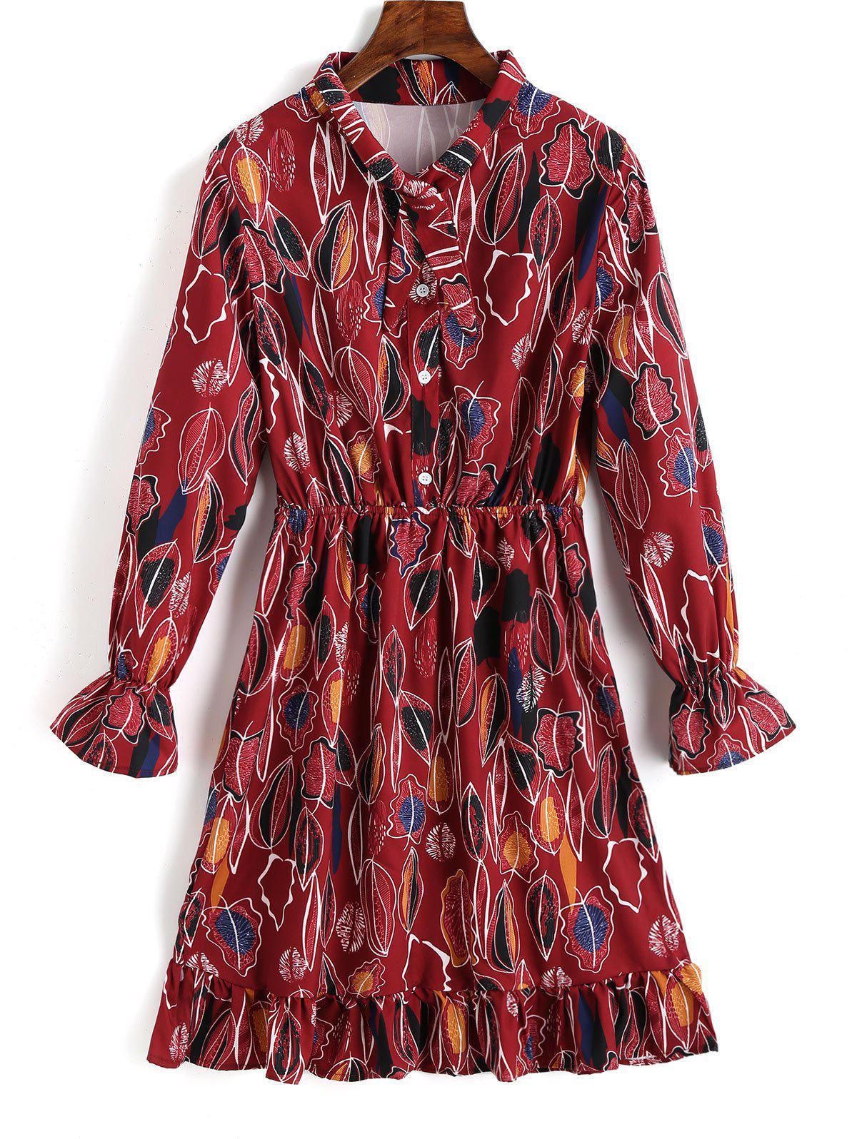 Ruffle Half Buttoned Leaves Shirt Dress фото