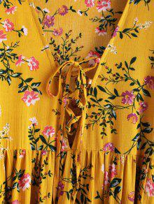 Con T Mostaza Floral S Vestido Cordones Mini 250;nica w5FxIq