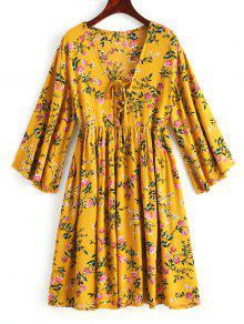 فستان تونيك مصغر رباط طباعة الأزهار - خردل L