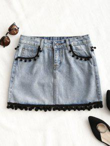 Zaful Crochet Trim Mini Denim Skirt - Denim Blue S