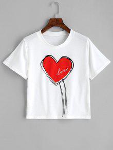 قصيرة الأكمام القلب الحب تي شيرت - أبيض S