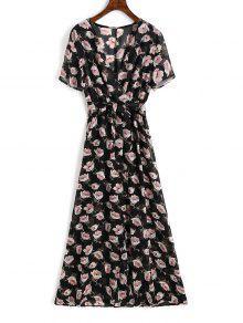 الشيفون الأزهار الشق فستان ماكسي - الأزهار Xl