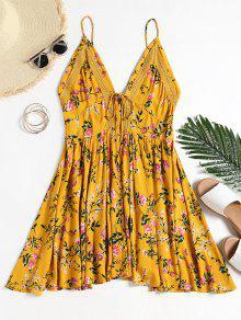فستان كامي طباعة الأزهار محبوك عارية الظهر - ترابي