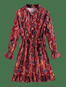 Abotonado Medio Vestido Las Rojo De S En Camisa Hojas Con Volantes Y Oscuro w4qXqYZr