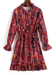 Vestido De Camisa Con Volantes Y Medio Abotonado En Las Hojas - Rojo Oscuro S