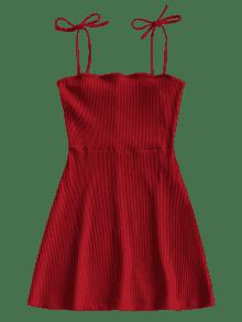 Punto Acanalado Vestido Mini De Rojo M ZxRqUYUw