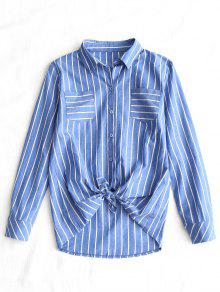 Self Tie Hem Striped Pocket Shirt