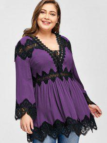 39d8563acee 28% OFF  2019 Plus Size Long Sleeve Lace Panel Peplum Blouse In ...