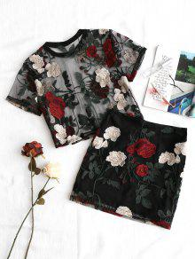 Malla Falda S De De Blusa Bordada Conjunto Y Negro Floral 7q6UT