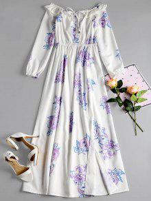 فستان طباعة الأزهار بلا اكتاف كشكش - أبيض L