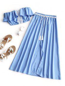 طقم بلوزة مزينة بالكروشيه مع تنورة طويلة - وندسور الأزرق M