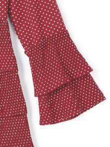 Gradas Rojo De Vino L Con Vestido Volante Lunares Pf4xwIvq7A