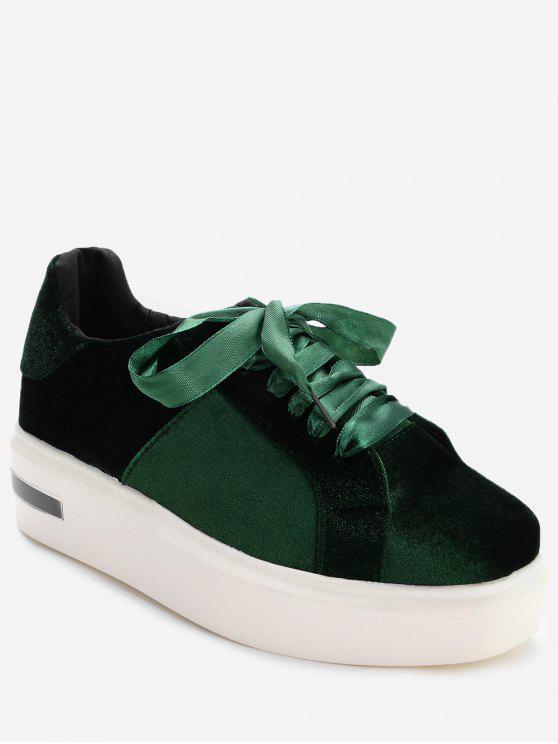 womens Square Toe Velvet Platform Sneakers - GREEN 39