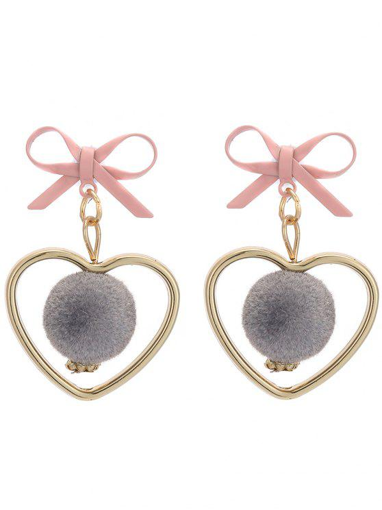 outfits Fuzzy Ball Heart Bows Earrings - GRAY