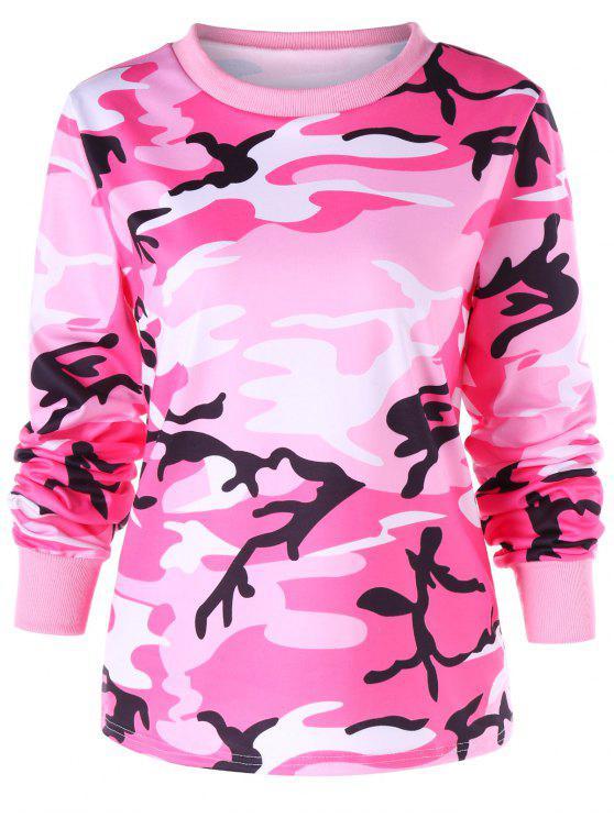 chic Ribbed Edge Camouflage Print Sweatshirt - COLORMIX 2XL