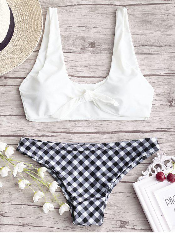 affordable Knotted Bikini Top with Plaid Bottoms - WHITE L