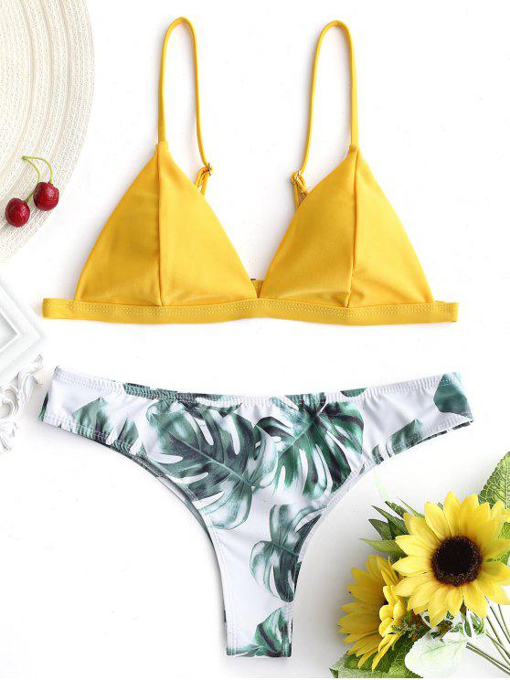 new Padded Bikini Top with Palm Leaf Bottoms - MUSTARD M