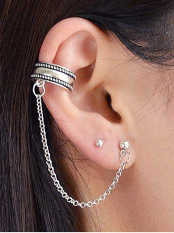 Outfits Stud Earrings And Simple Chain Ear Cuff Silver
