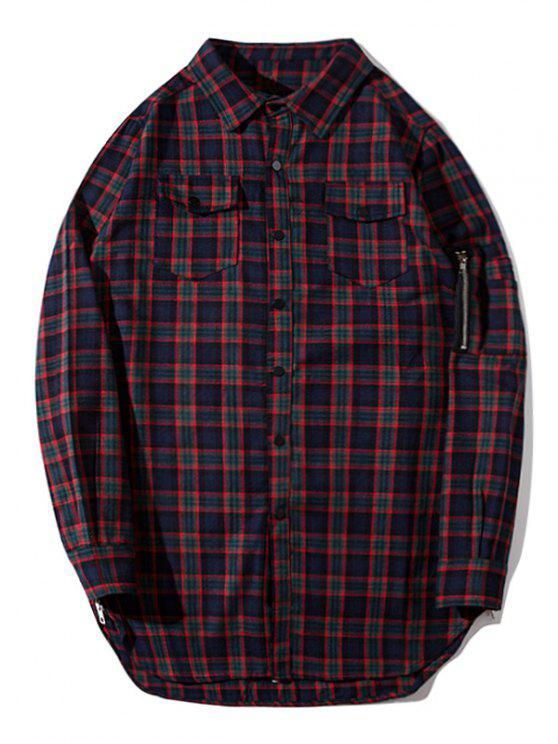 shop Flap Pockets Side Zipper Plaid Shirt - PLAID 2XL