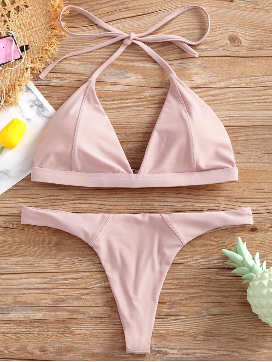 outfits Halter Thong Bikini Set - PINK L