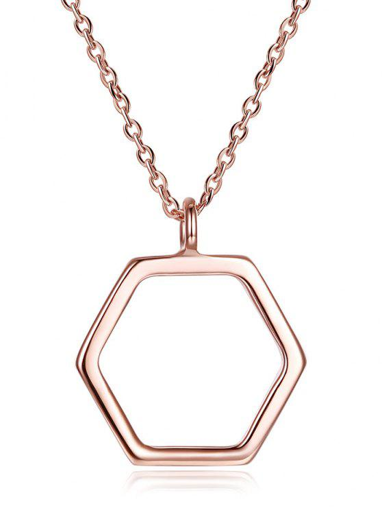 Sterlingsilber Hexagon Halskette - Roségold