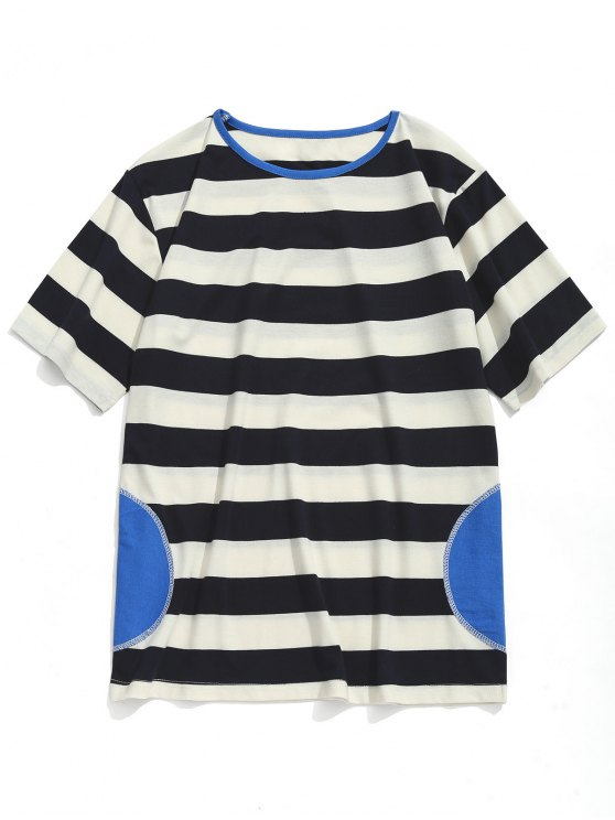 online Striped Short Sleeve T-shirt - WHITE AND BLACK XL
