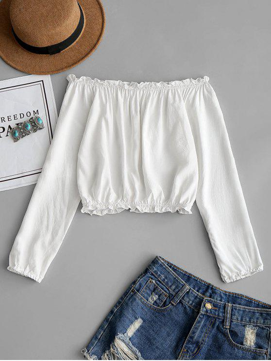 online Ruffles Off Shoulder Cropped Blouse - WHITE ONE SIZE