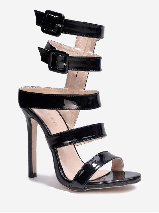 fancy Patent Leather Buckled Gladiator Sandals - BLACK 38