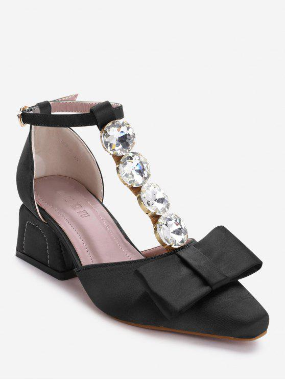 women's Rhinestone Bowknot Ankle Strap Pumps - BLACK 37