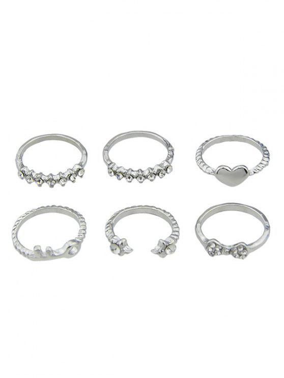 shop Faux Crystal Metal Key Heart Open Ring Set - SILVER