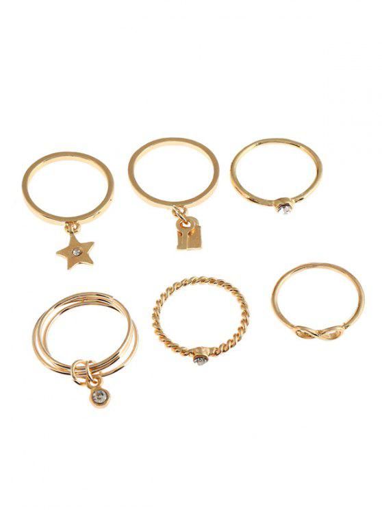 trendy 6Pcs Faux Crystal Infinity Star Alloy Rings - GOLDEN