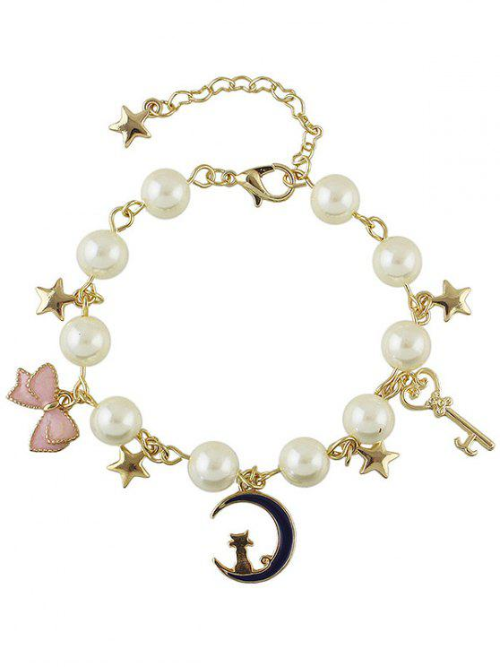 buy Artificial Pearl Moon Kitten Star Chain Bracelet - GOLDEN