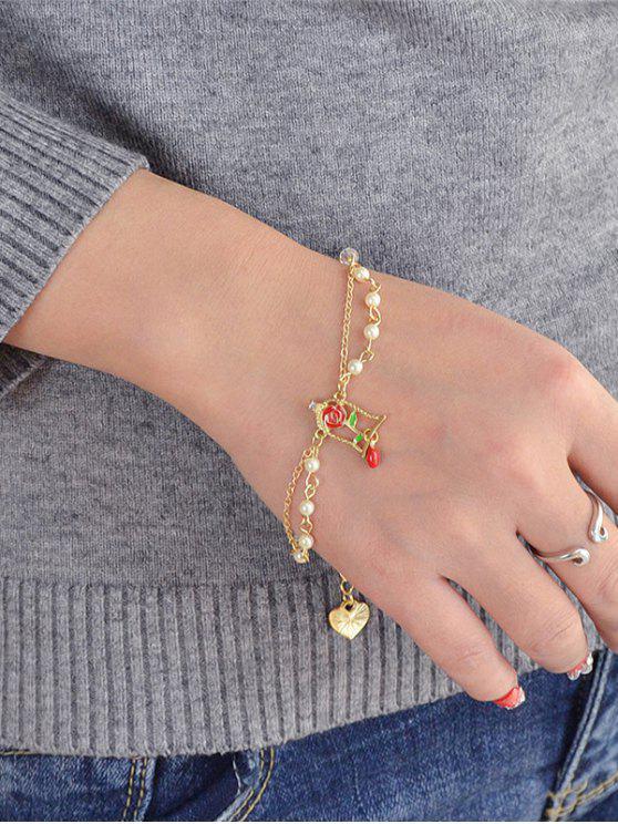 women's Rose Heart Faux Pearl Valentine's Day Metal Bracelet - GOLDEN