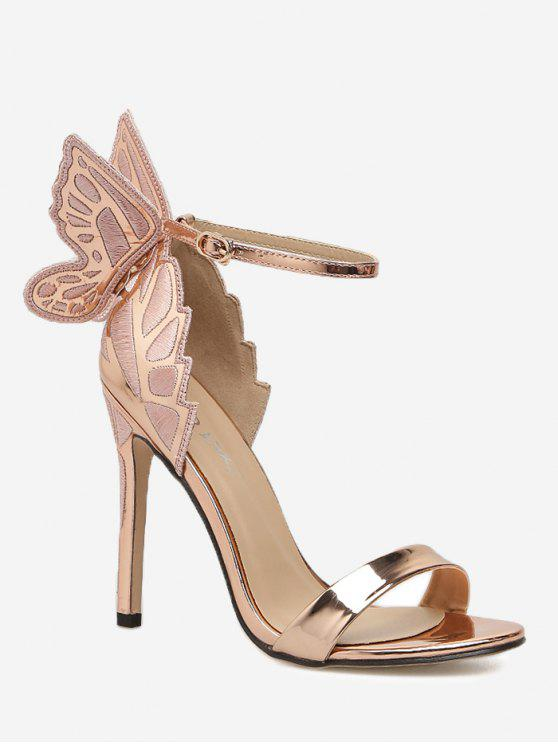 d9a038ff6f8 Stiletto Heel Ankle Strap Sandals BLACK CHAMPAGNE SILVER