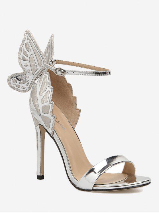 7ec7b038741 42% OFF  2019 Stiletto Heel Ankle Strap Sandals In SILVER