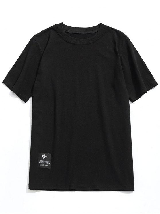 تيشيرت بياقة مستديرة - أسود XL